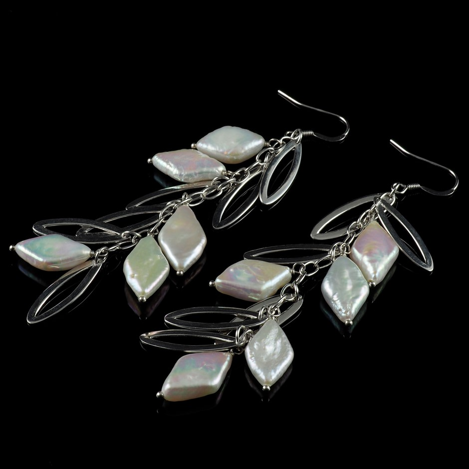 One Pair Of Sterling Silver Freshwater Pearl Set Earrings