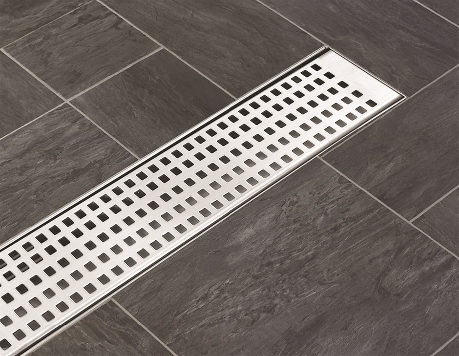 900mm Shower SS Grate Drain w/Centre outlet Floor Waste Square Pattern