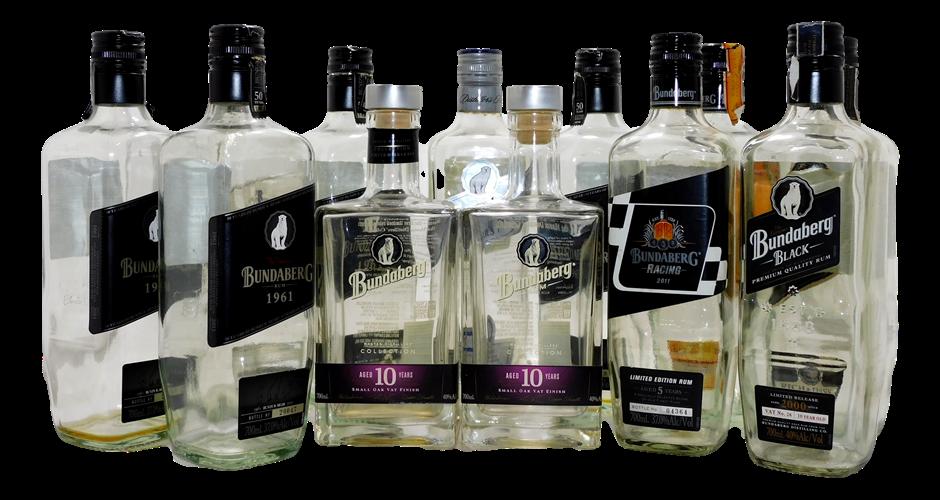 Pack of 12 Empty Bundaberg Rum Collectors Bottles