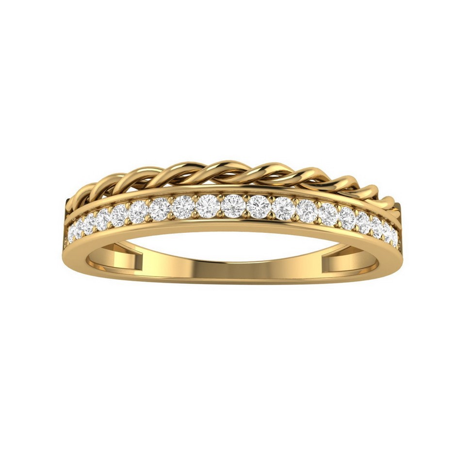 9ct Yellow Gold, 0.15ct Diamond Ring