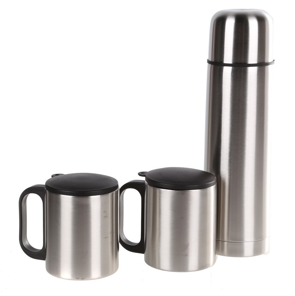 Stainless Steel 3pc Thermos Set in Nylon Zip Case. Buyers Note - Discount F