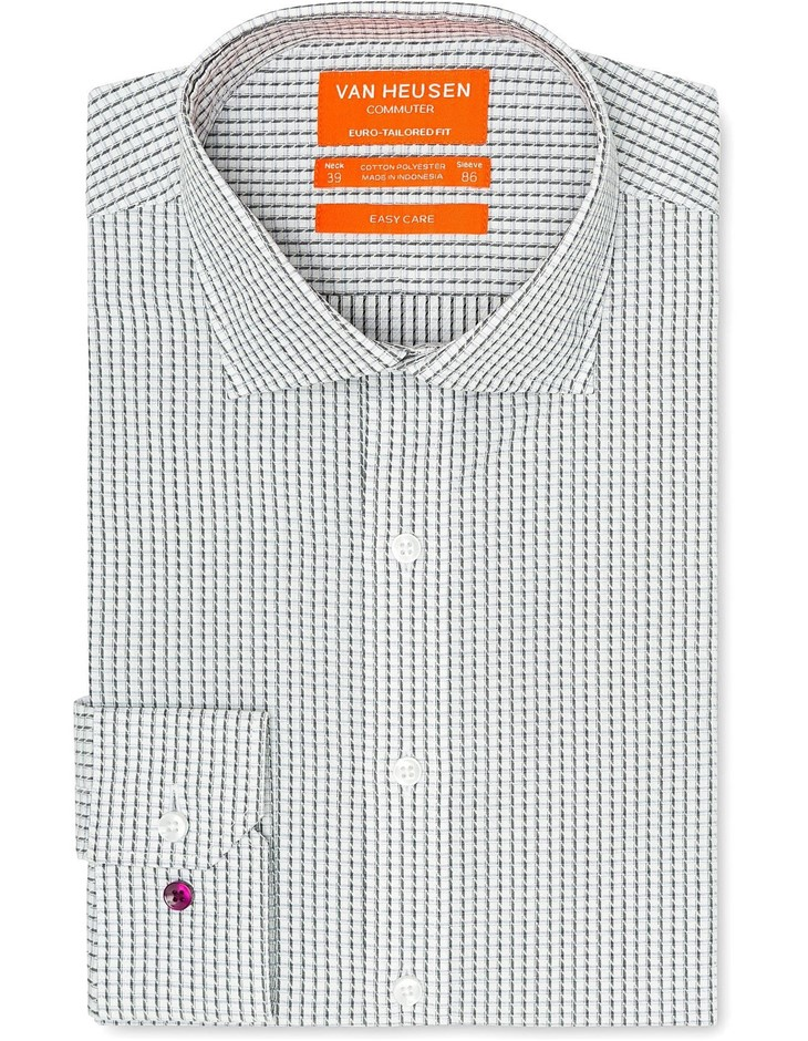 VAN HEUSEN White Ground Black and Grey Check Shirt. Size 39. Cotton Blend.