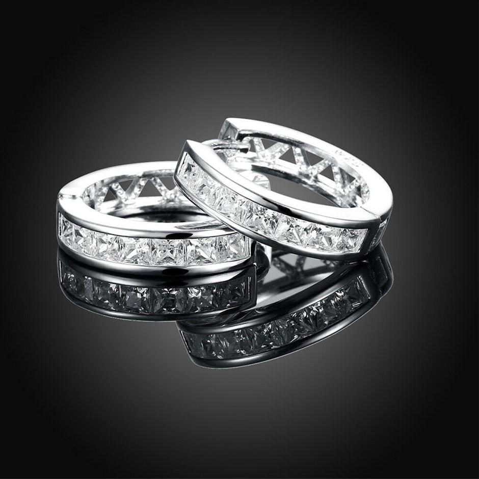 925 Sterling Silver Filled Clear Crystal Huggie Hoop Earrings Elegant