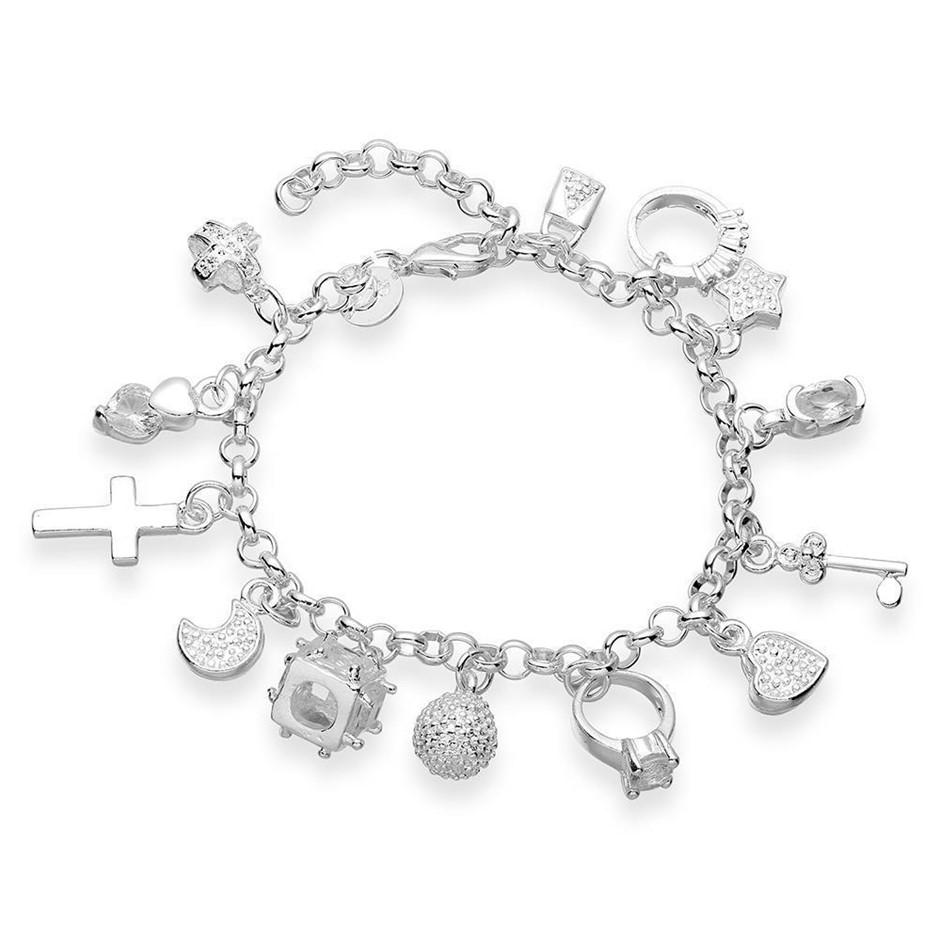 WOMEN GIRLS 925 STERLING SILVER FILLED Fashion Pendants Bracelet Xmas