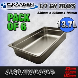 Unused 1/1 Gastronorm Trays 100mm - 6 Pa