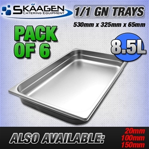 Unused 1/1 Gastronorm Trays 65mm - 6 Pac