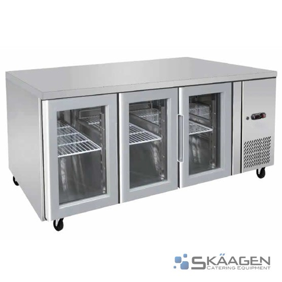 Unused 380L S/Steel Door Bench Fridge - EBC03-GL