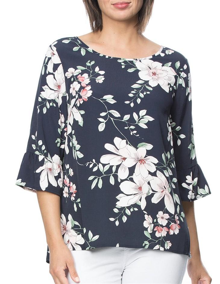CLARITY BY THREADZ Floral Print Tunic Top. Size XL, Colour: Navy Multi. Pol