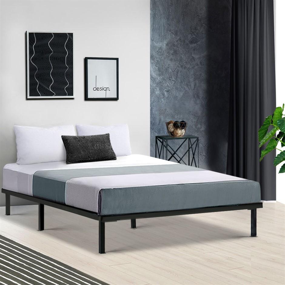 Metal Bed Frame Double Mattress Base Platform Foundation Wooden Black TED