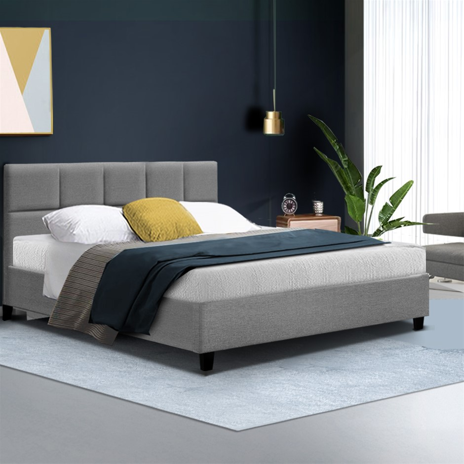 Bed Frame Double Size Base Mattress Platform Fabric Wooden Grey TINO