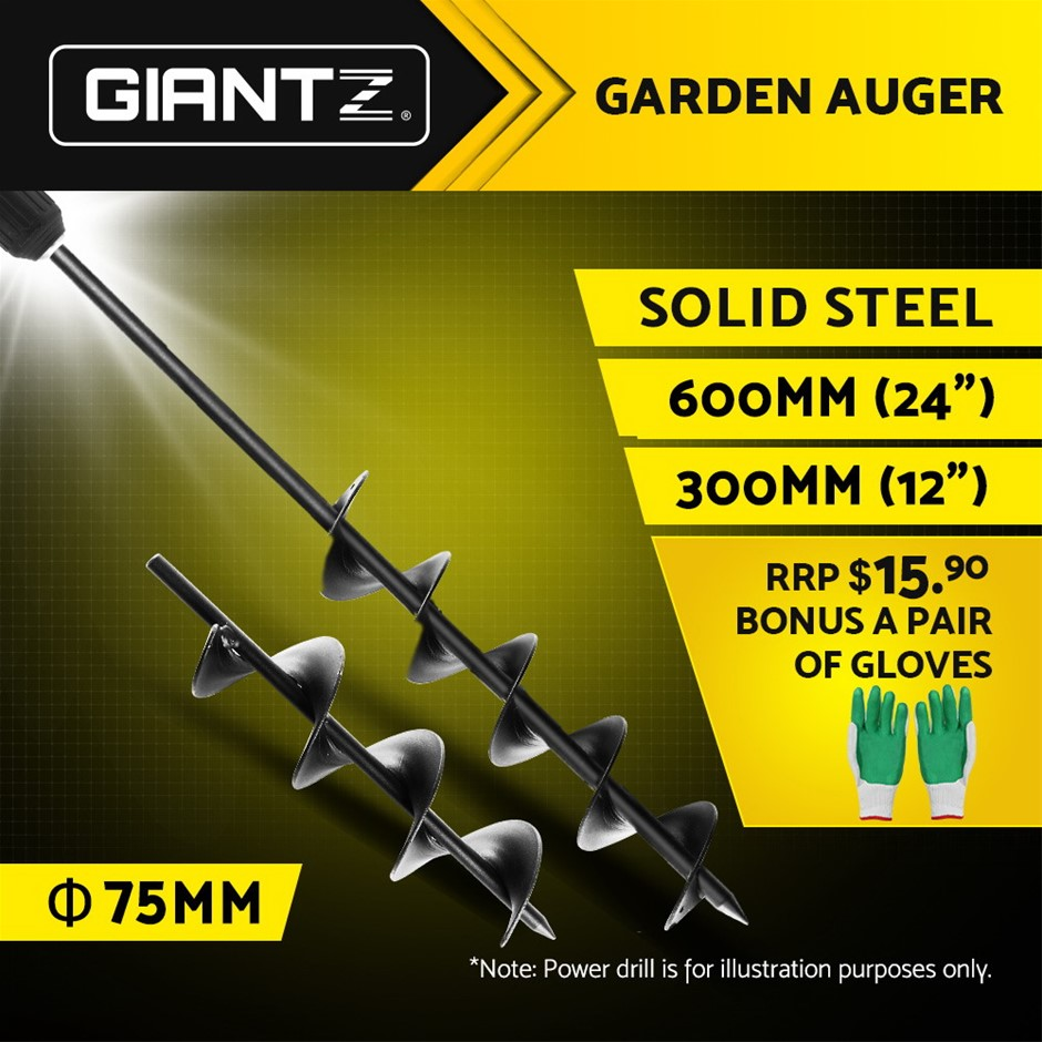Giantz Power Garden Spiral Auger Hole Digger Earth Drill Bit 75x300 & 600mm