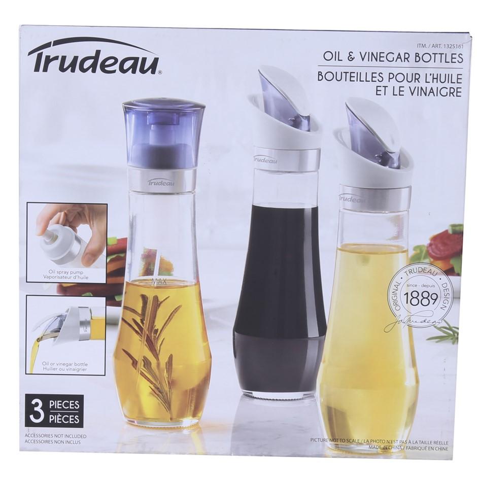 2 x TRUDEAU 3pc Oil & Vinger Bottles. N.B. Not in original packaging. Used.