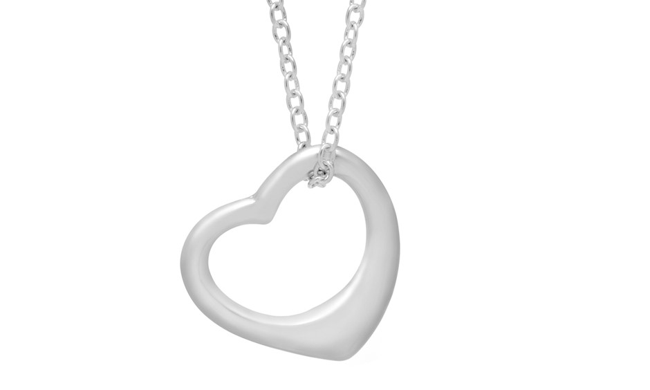 """Heart Necklace 18"""""""" Chain with Clasp Rhodium Plated"""