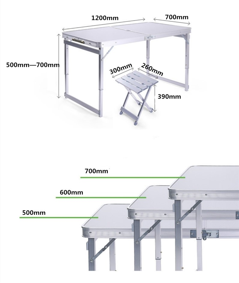 1.2m outdoor folding table and chairs(4 Aluminum chairs)