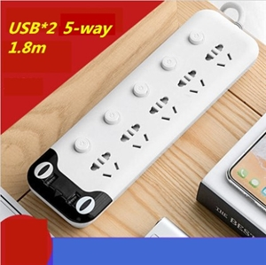5 way power board with 2 USB outlets