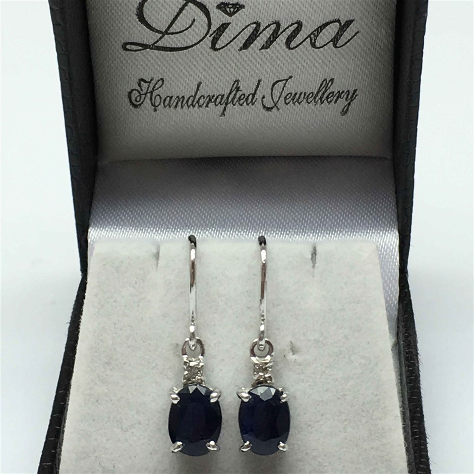 18ct White Gold, 3.92ct Blue Sapphire and Diamond Earring