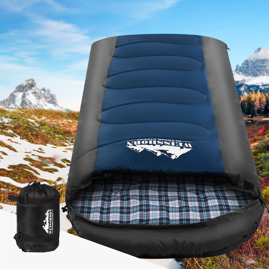 Weisshorn Sleeping Bag Bags Single Camping -20°C to 10°C Tent Thermal Navy
