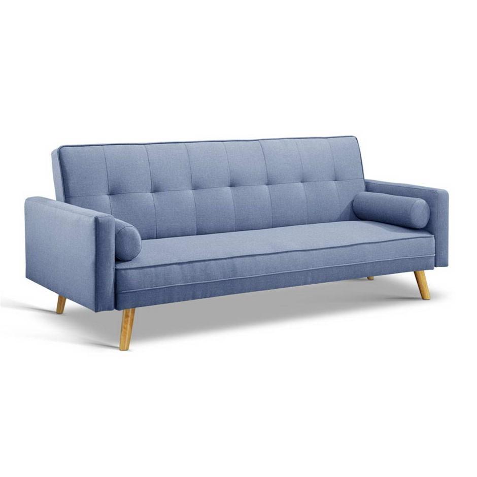 Artiss 3 Seater Linen Fabric Lounge Chair - Blue