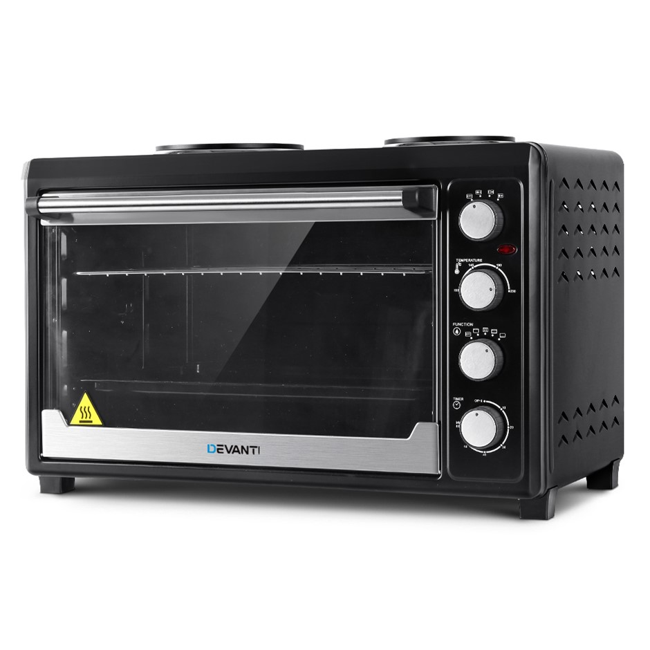 Devanti Electric Oven Bake Benchtop Rotisserie Grill 60L Hotplate Black