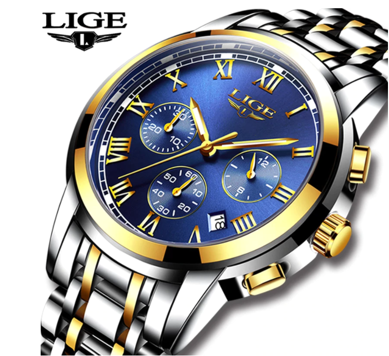 LIGE Men Business Luxury Quartz Chronograph Water-Resistant SS Wrist Watch