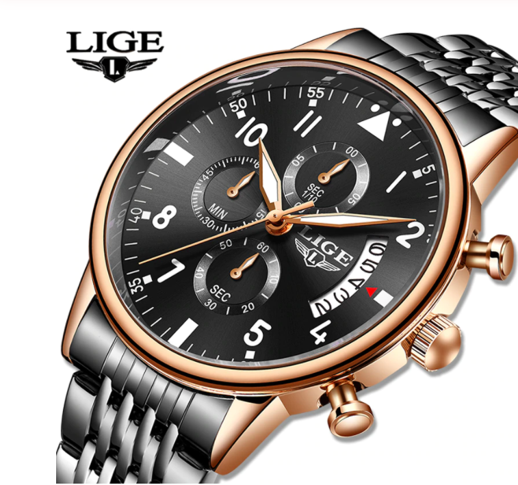 LIGE Men Business & Luxury Quartz Chronograph Water-Resistant SS Watch