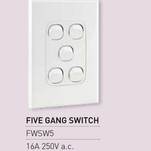 Qty 10 X Vynco Vertical Wall Light Switch Outlet 5 Gang 16A 250V