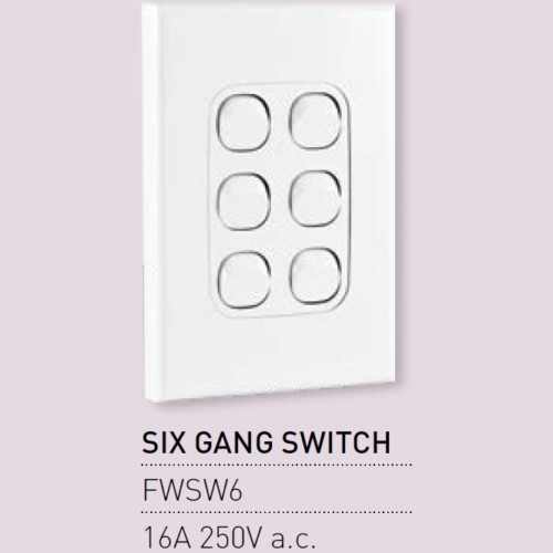 Qty 10 X Vynco Vertical Wall Light Switch Outlet 6 Gang 16A 250V