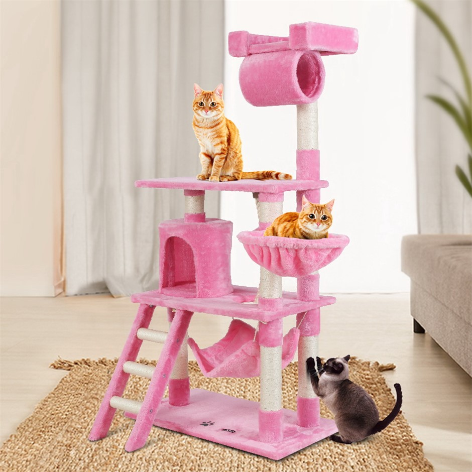 i.Pet Cat Tree Trees Scratching Post Scratcher Tower Condo Wood Pink 141cm