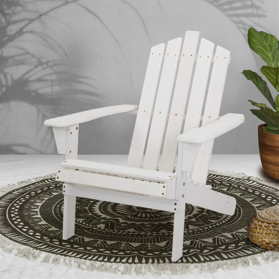 Gardeon Outdoor Sun Lounge Chairs Table Setting Wooden Adirondack Patio