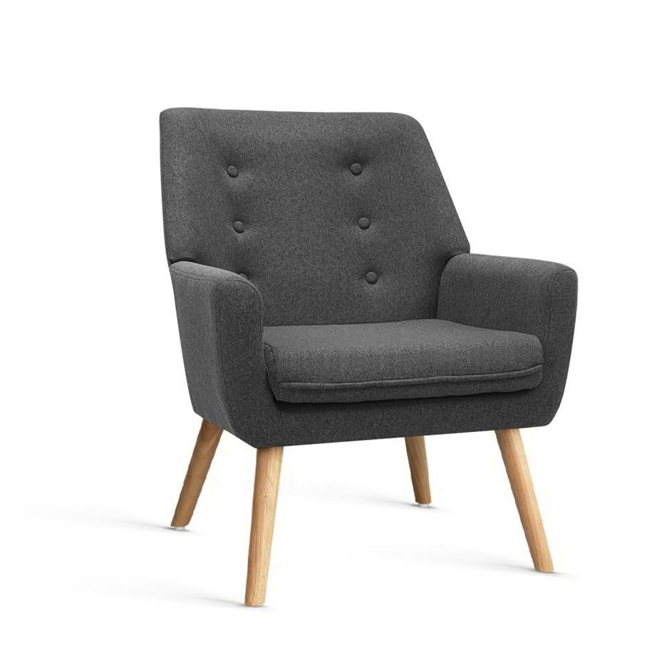 Armchair Tub Chair Single Accent Armchairs Sofa Lounge Fabric Charcoal
