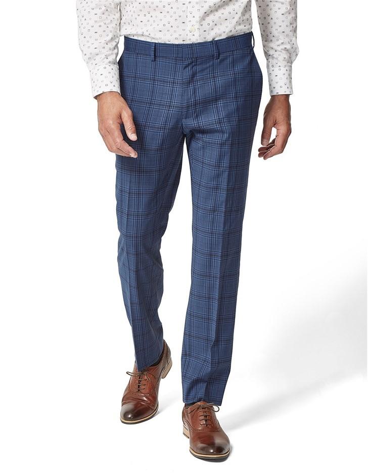 SIMON CARTER Large Check Skin Trouser, Size 38, Colour: Blue. Wool/Polyeste