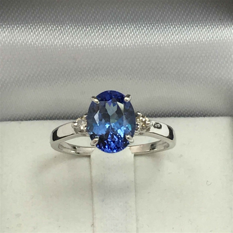 18ct White Gold, 1.44ct Tanzanite and Diamond Ring