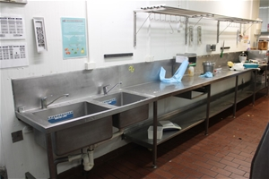 Large S/Steel Bench with Sinks