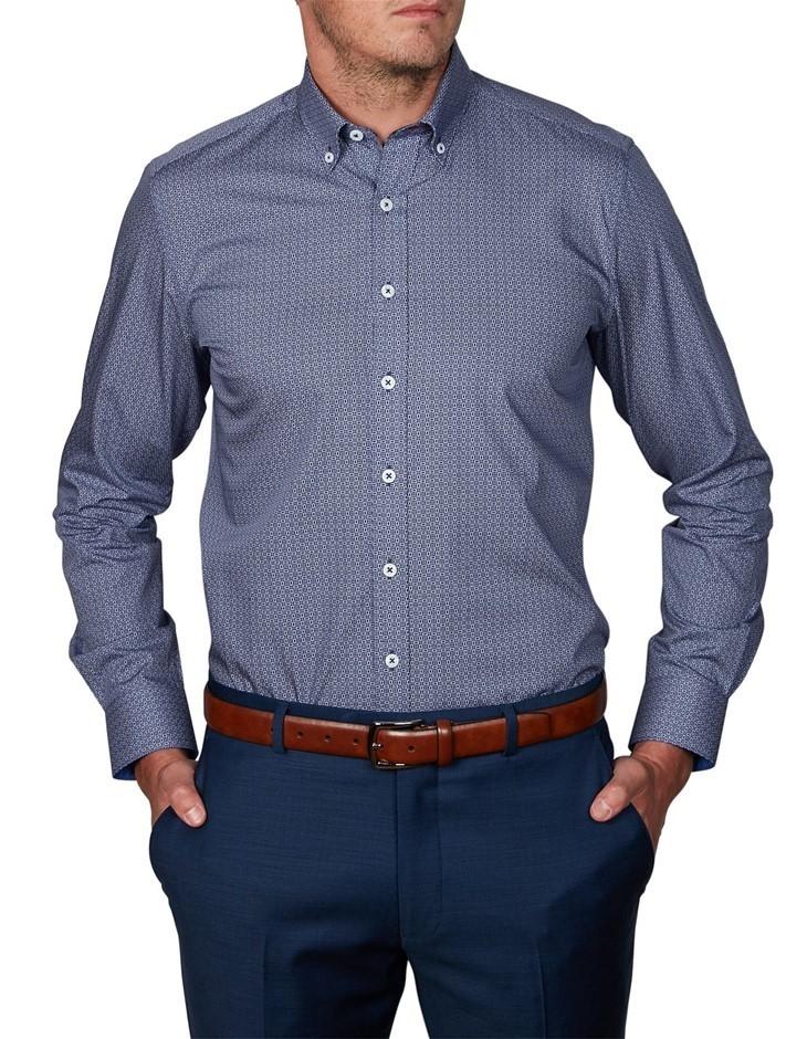 GEOFFREY BEENE Piute Print Shirt. Size XXL, Colour: Navy. 100% Cotton, Vars