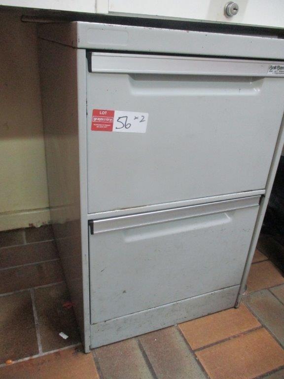 Qty 2 x 2 Drawer Filing Cabinet - Grey