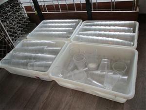Quantity 4x Trays Various Plastic Glasse