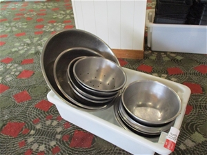 1 Tub of Assorted Stainless Steel Bowls