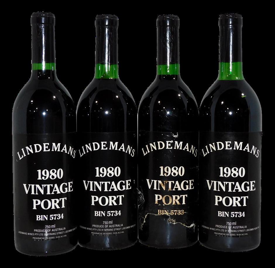 Mixed Lindemans Vintage Port 1980 (4x 750mL), NSW. Cork