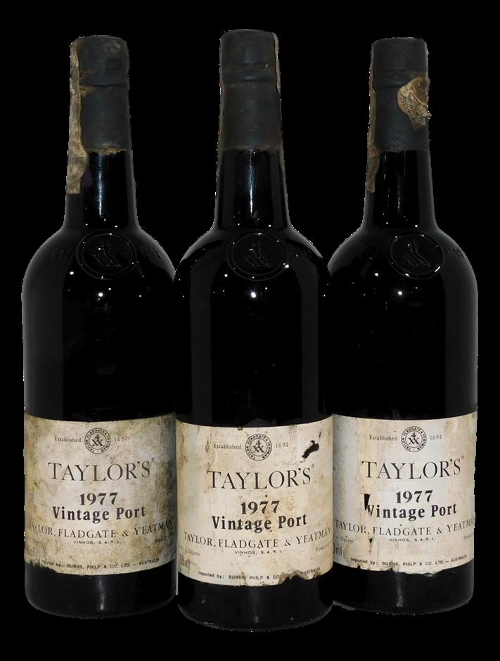 Taylors Vintage Port 1977 (3x 750mL), AUS. Cork