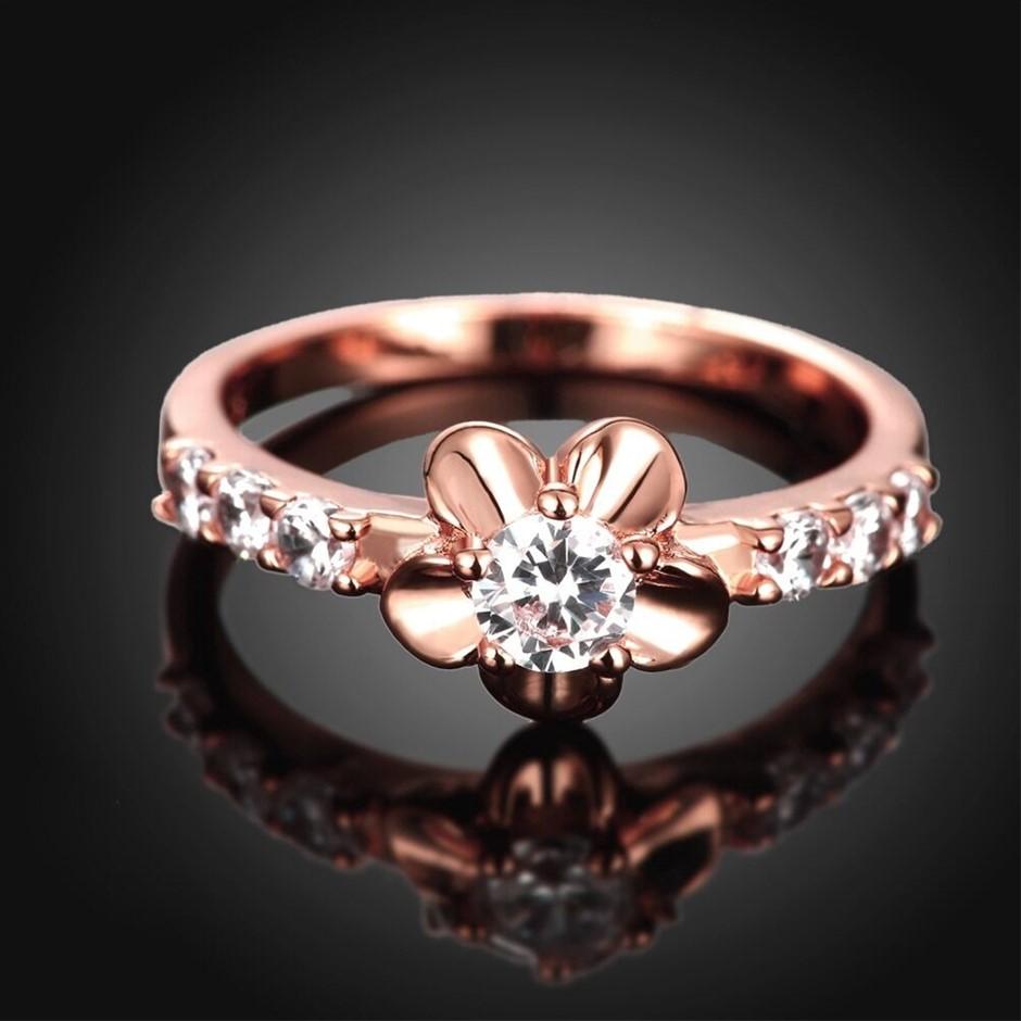 18K Rose Gold plated Elements Crystal Flower Wedding Engagement Ring