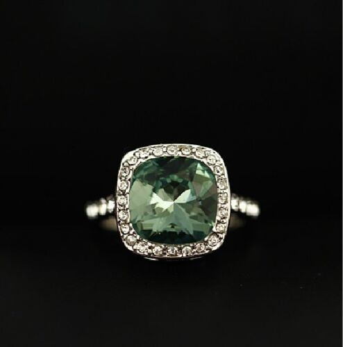 18K White Gold filled Big Simulated Emerald Wedding Engagement Ring