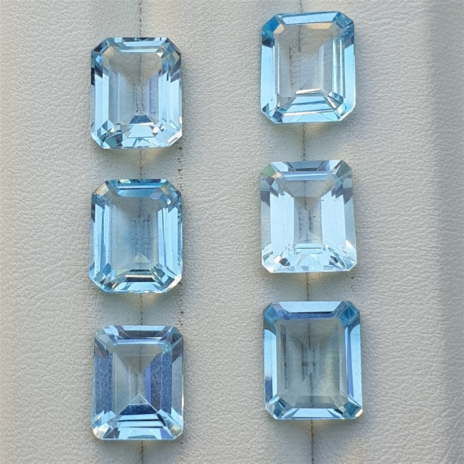 30ct Lot Blue Topaz 6 pcs Emerald Cut