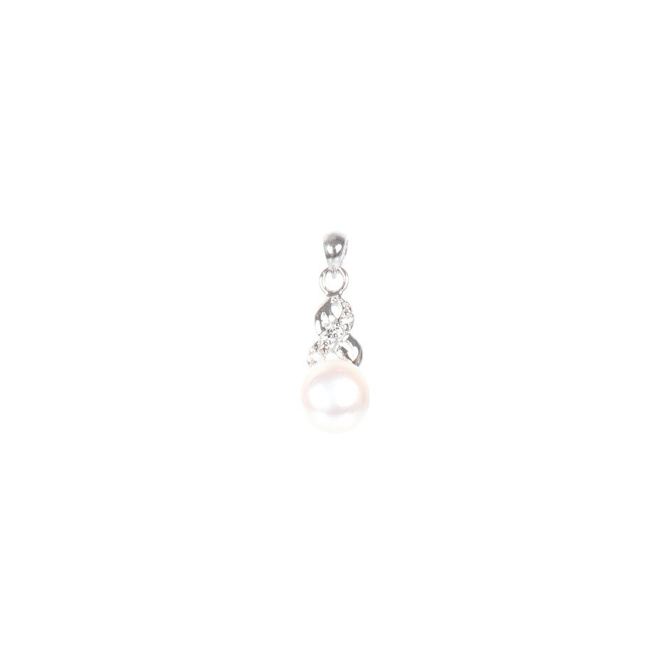 Freshwater White Pearl & Cubic Zirconia Set Pendant