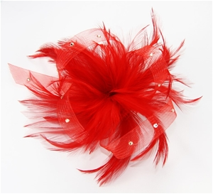 2 x FASCINATOR - RED FEATHERS WITH DIAMA