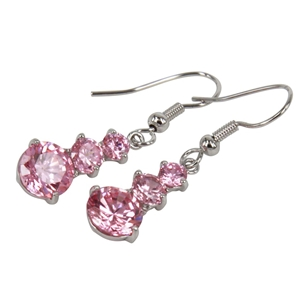 EARRINGS - PINK CUBIC ZIRCONIA, SILVER P