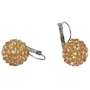 DIAMANTE ENCRUSTED BALL EARRINGS - GOLD