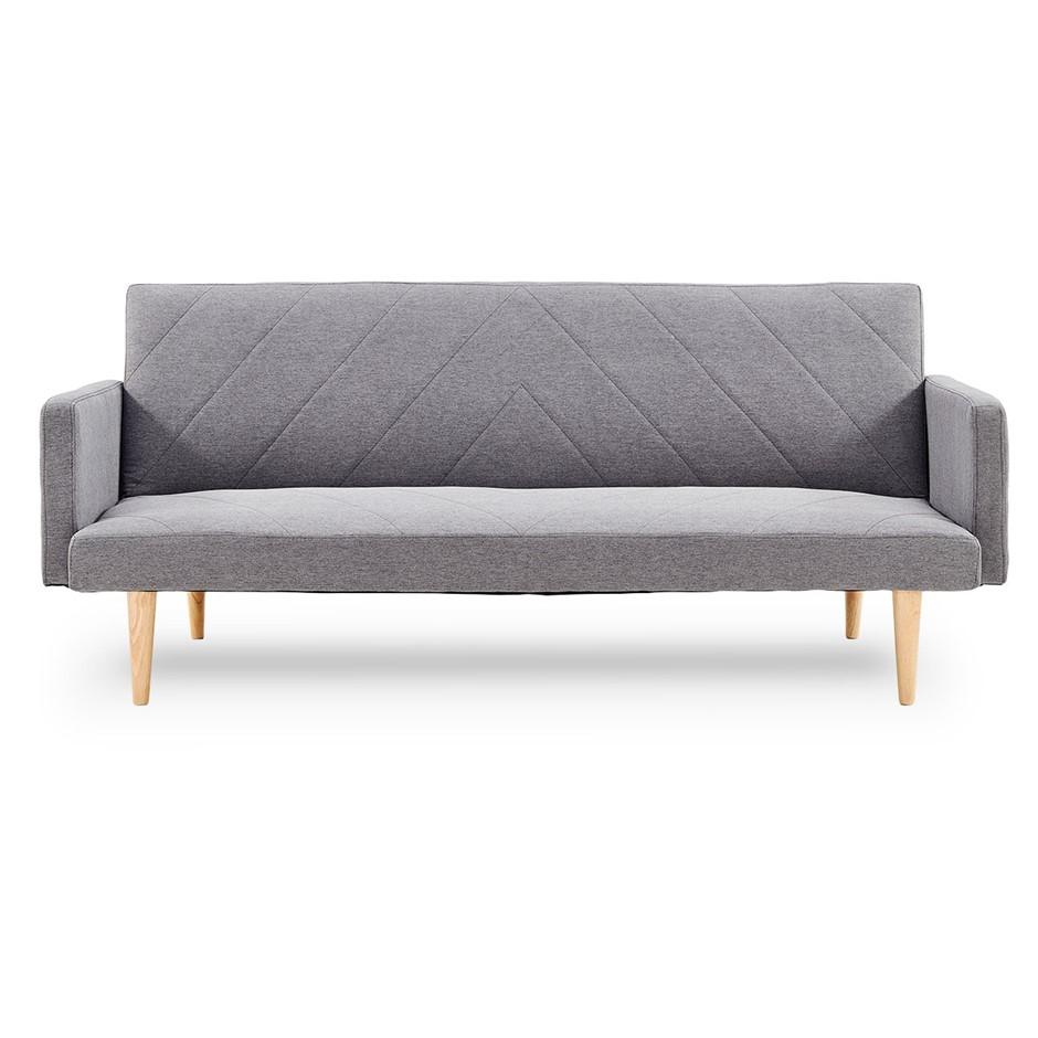 Sarantino 3 Seater Modular Linen Fabric Sofa Bed Couch Armrest Light Grey