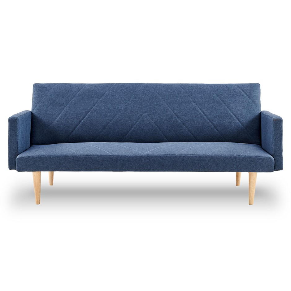 Sarantino 3 Seater Modular Linen Fabric Sofa Bed Couch Armrest Blue