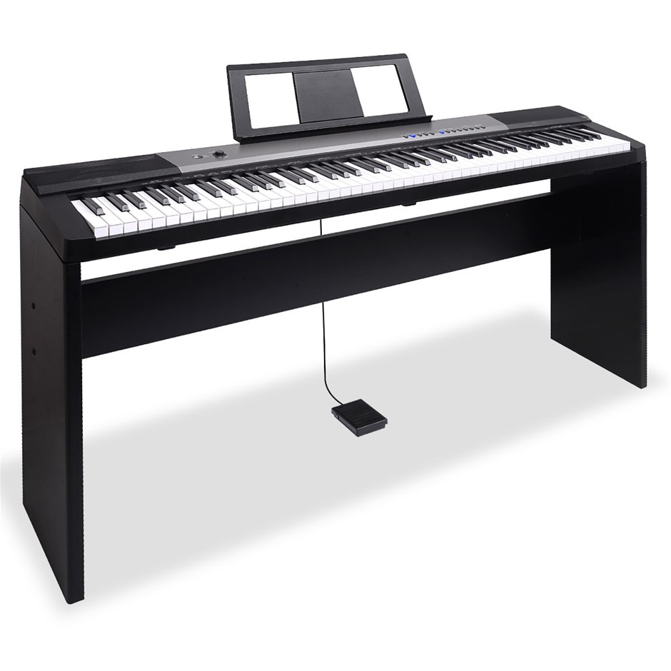 Karrera 88 Keys Electronic Keyboard Piano with Stand Black