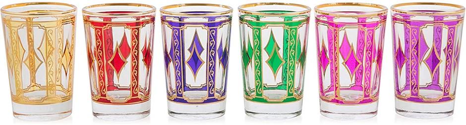 6 X BOHO TRADERS Turkish Glass Set, Colour: Multicolour. (SN:B07L42Y81Z) (2